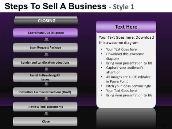 Editable Process Showing Steps To Sell BusinessPowerPoint Slides And Ppt Diagram Templates