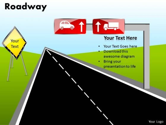 Editable Road PowerPoint Diagram With Editable Road Signs Ppt Slides Templates