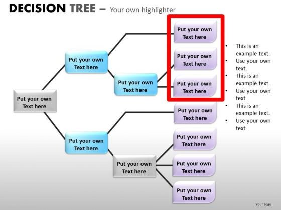 Editable Text Boxes Decision Tree Analysis Diagram For PowerPoint Slides