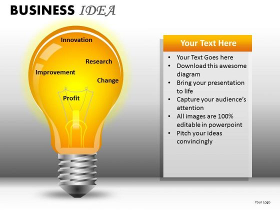Editable Text Business Idea PowerPoint Ppt Templates