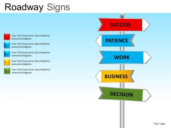 Editable Text Road Signs PowerPoint Slides And Ppt Clipart Graphics