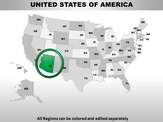 Editable Usa Arizona State PowerPoint Maps