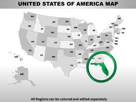 Editable Usa Florida State PowerPoint Maps