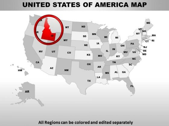 Editable Usa Idaho State PowerPoint Maps