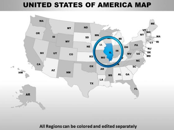 Editable Usa Illinois State PowerPoint Maps