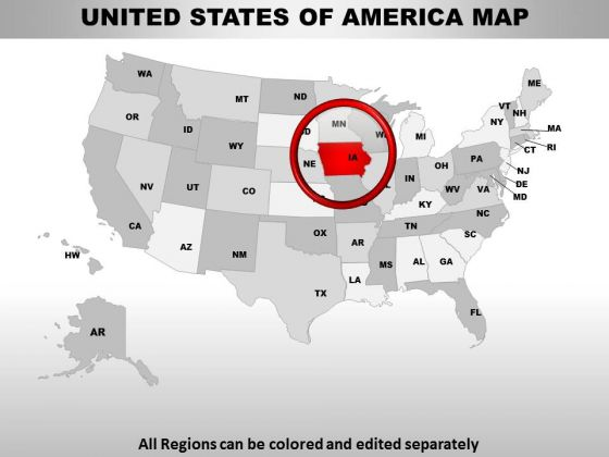 Editable Usa Iowa State PowerPoint Maps