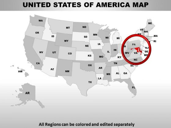 Editable Usa Maryland State PowerPoint Maps