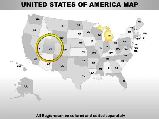 Editable Usa Michigan State PowerPoint Maps