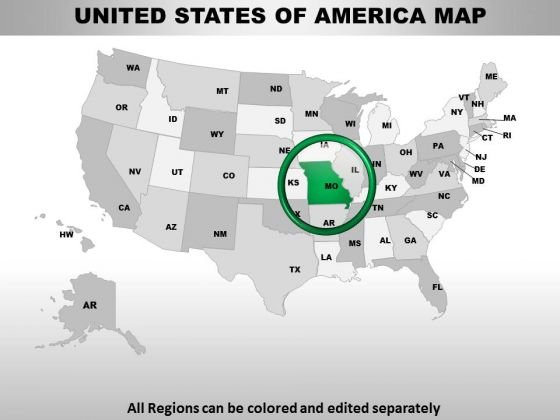 Editable Usa Missouri State PowerPoint Maps
