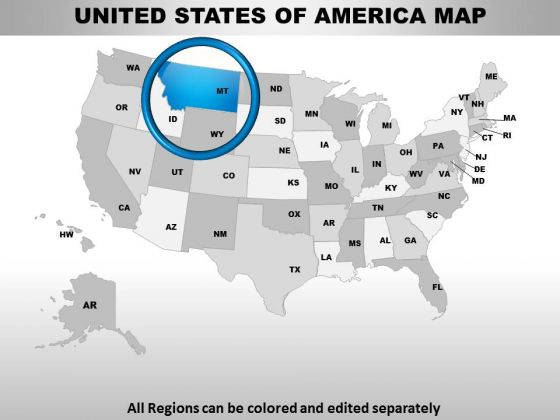 Editable Usa Montana State PowerPoint Maps