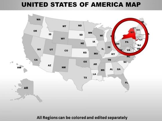 Editable Usa New York State PowerPoint Maps