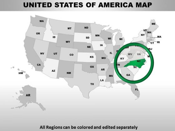 Editable Usa North Carolina State Powrpoint Maps
