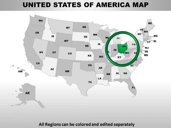 Editable Usa Ohio State PowerPoint Maps