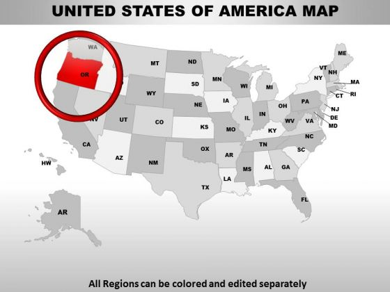 Editable Usa Oregon State PowerPoint Maps