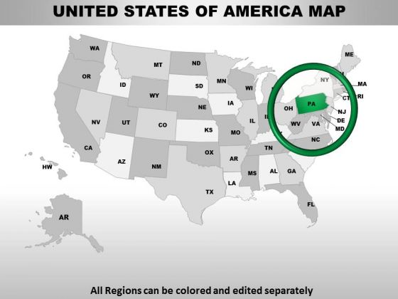 Editable Usa Pennsylvania State PowerPoint Maps