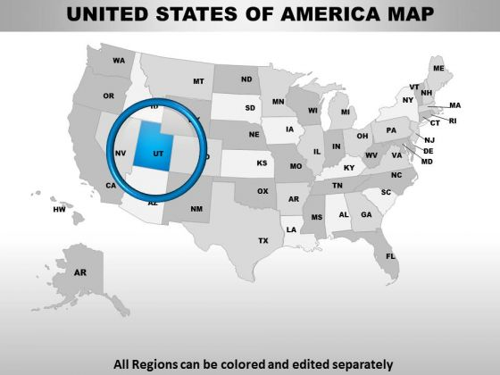 Editable Usa Utah State PowerPoint Maps