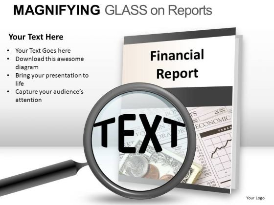 Education Magnifying Glass On Report PowerPoint Slides And Ppt Diagram Templates