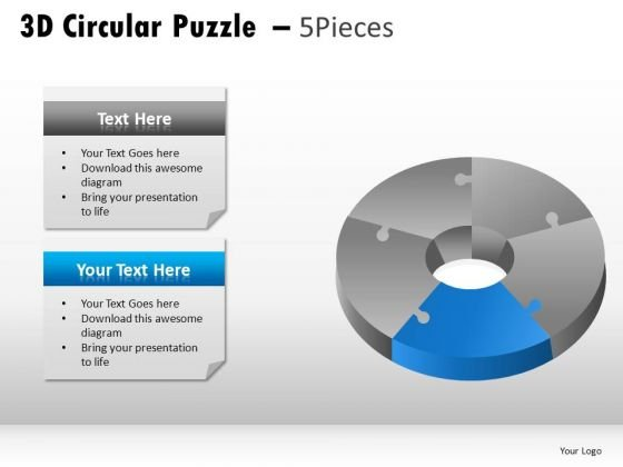 Ehromatic 3d Circular Puzzle 5 Pieces PowerPoint Slides And Ppt Diagram Templates