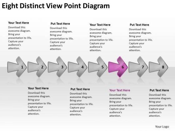 Eight Distinct View Point Diagram Flow Chart PowerPoint Free Slides