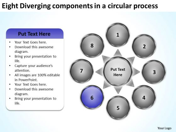 Eight Diverging Components A Circular Process Circular Pie Chart PowerPoint Slides