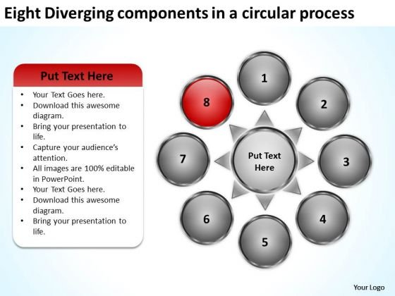 Eight Diverging Components A Circular Process Circular PowerPoint Templates