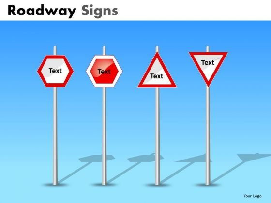 Enter Your Text On Road Signs PowerPoint Slides
