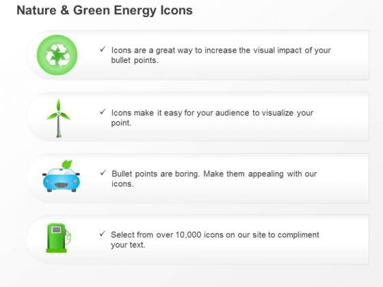 Environmental And Green Energy Icons Recycle And Windmill Symbols Ppt Slides Graphics