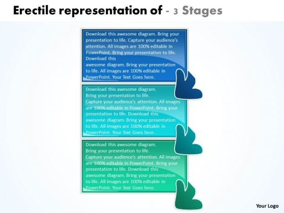 Erectile Representation Of 3 Stages Working Flow Chart PowerPoint Slides