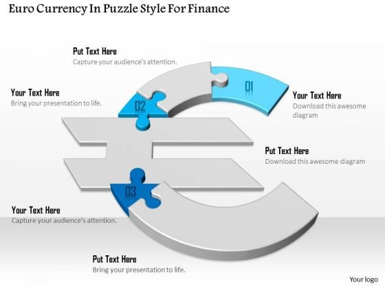 Euro Currency In Puzzle Style For Finance Presentation Template