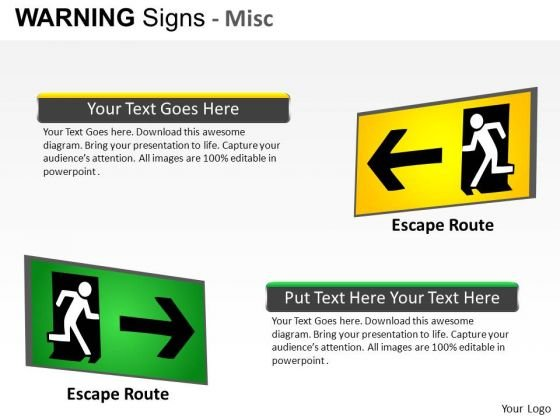 Evacuation Warning Signs PowerPoint Slides And Ppt Diagram Templates