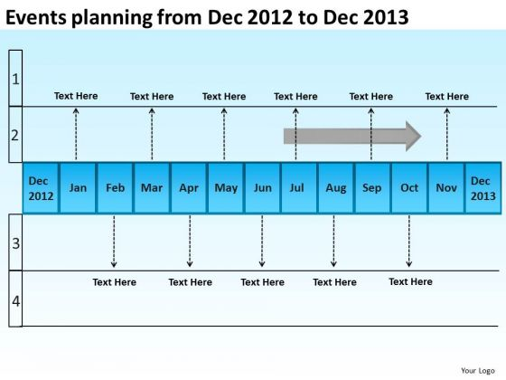 Events Planning From Dec 2012 To Dec 2013 PowerPoint Templates Ppt Slides Graphics