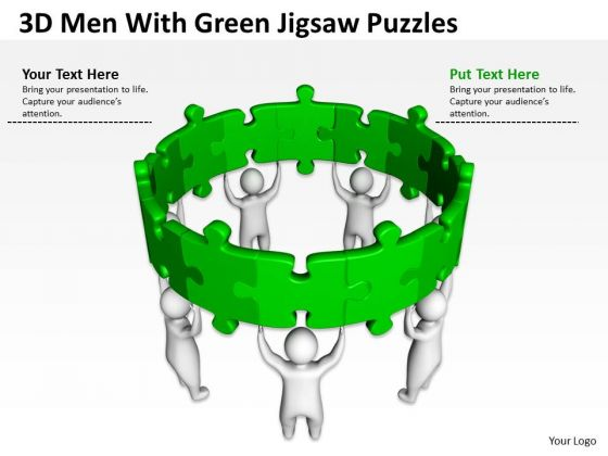 Examples Of Business Processes 3d Men With Green Jigsaw Puzzles PowerPoint Templates