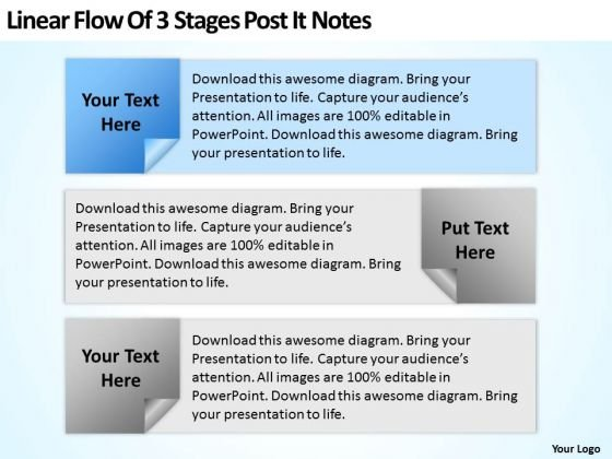 Examples Of Business Processes Linear Flow 3 Stages Post It Notes Ppt PowerPoint Template