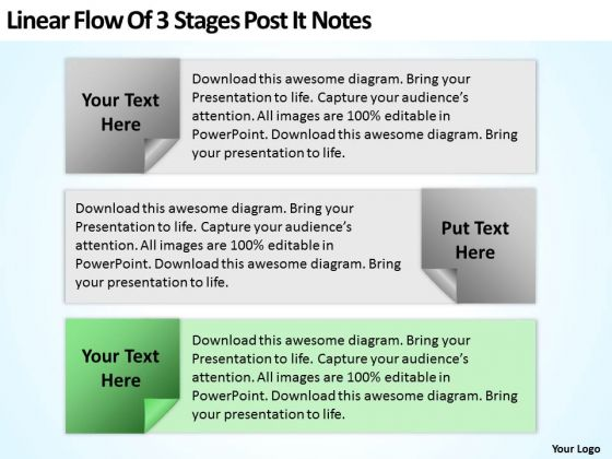 Examples Of Business Processes Linear Flow 3 Stages Post It Notes Ppt PowerPoint Templates