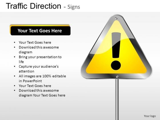 Exclamation Point Traffic Direction PowerPoint Slides And Ppt Diagram Templates