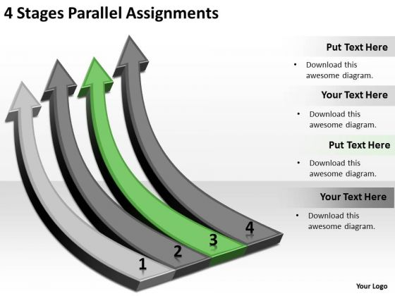 Explain Parallel Processing 4 Stages Assignments PowerPoint Templates