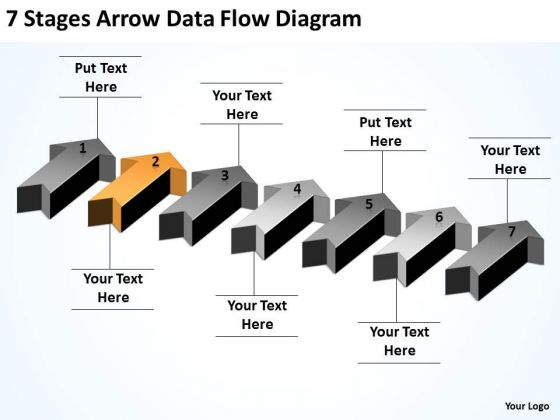 Explain Parallel Processing 7 Stages Arrow Data Flow Diagram PowerPoint Slides