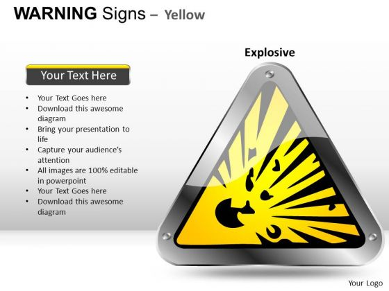 Exploding Warning Signs PowerPoint Slides And Ppt Diagram Templates