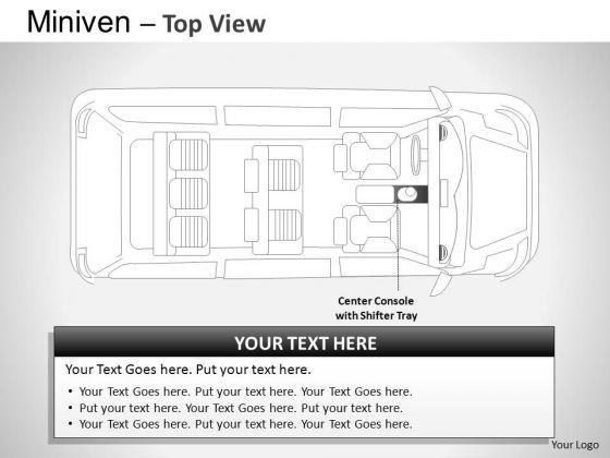 Exterior Blue Minivan Top View PowerPoint Slides And Ppt Diagram Templates