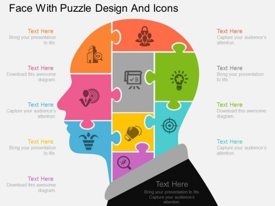 Face With Puzzle Design And Icons Powerpoint Template