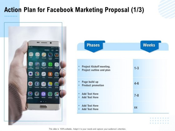Facebook Ad Management Action Plan For Facebook Marketing Proposal Ppt Infographics Styles PDF