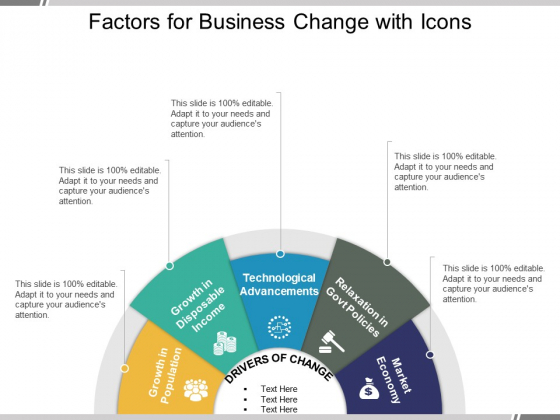 Factors For Business Change With Icons Ppt PowerPoint Presentation Professional Background
