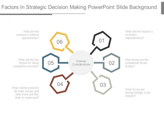 Factors In Strategic Decision Making Powerpoint Slide Background