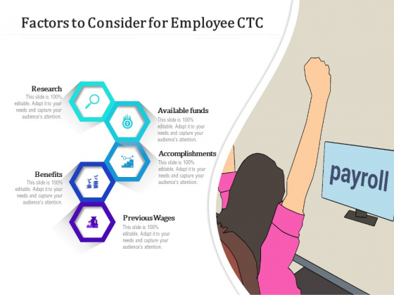 Factors To Consider For Employee CTC Ppt PowerPoint Presentation Icon Diagrams PDF