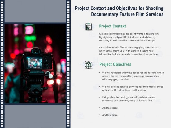 Factual Picture Filming Project Context And Objectives For Shooting Documentary Feature Film Services Structure PDF
