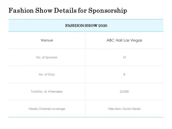 Fashion Show Details For Sponsorship Ppt PowerPoint Presentation File Graphics Template