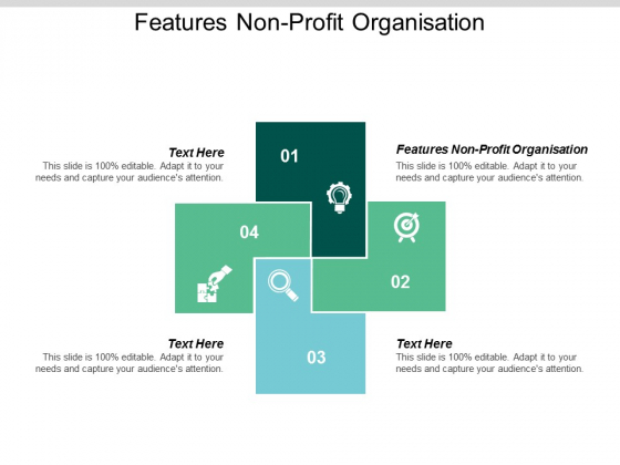 Features Non Profit Organisation Ppt PowerPoint Presentation Infographic Template Clipart Images Cpb
