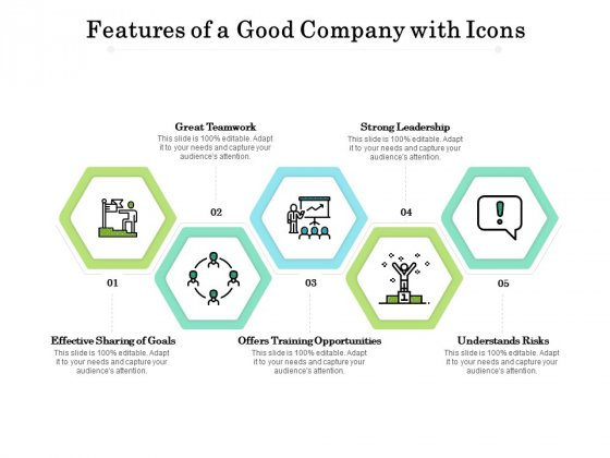 Features Of A Good Company With Icons Ppt PowerPoint Presentation Layouts Layout Ideas