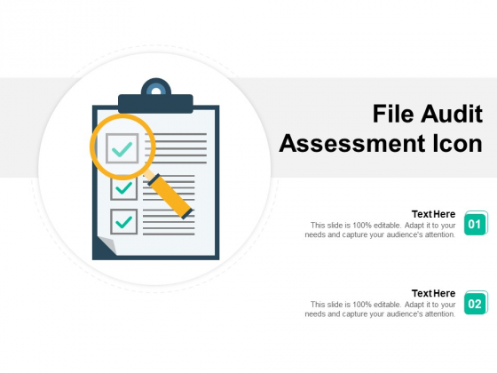 File Audit Assessment Icon Ppt PowerPoint Presentation Clipart PDF