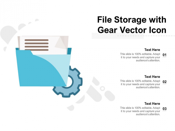file storage with gear vector icon ppt powerpoint presentation slides deck